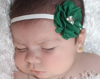 Green Headband, Green Baby Headband, Flower Headband, Newborn Headband, Headbands for Girls, Baby Girl Headband, Baby Headbands