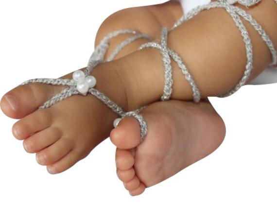 Silver Gladiator Sandals, Barefoot Sandals, Crochet Baby Sandals, Crochet Barefoot, Baby Sandals, Gladiator Sandals, Newborn Sandals