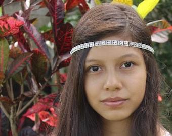 Silver Headband, Boho headbands, hippie headband, Silver Halo, boho head wrap, turban headband, Adult Headband, Bohemian Headband