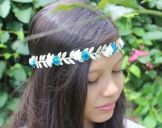 Gold Boho Headband,  Grecian Flower Headband, Bohemian Headband, Adult Boho Headband, Gold Girl Headband, Forehead Headband, Halo Headband
