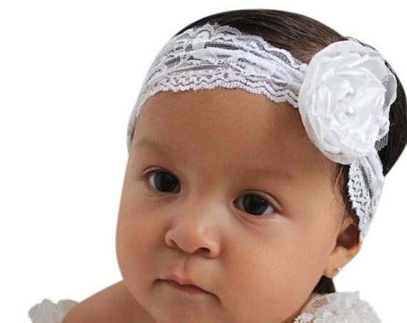 Lace Flower HeadWrap, Baby Headband, Baby Turban, Flower Headband, Lace Headwrap, White Baby Headband, Infant Headwrap