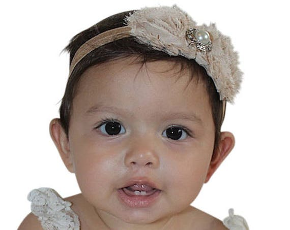 Tan Baby Headband, Baby Headband, Flower Headband, Flower Girl Headband, Infant Headbands, Newborn Headband, Baptism Headband, Girl Headband