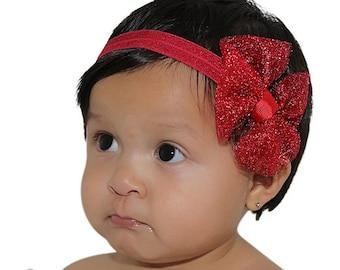 Red Bow Headband, Baby Girl Headband, Red Headband, Bow Headband, Newborn Headband, Infant Headbands, Baby Girl Accessories, Headband