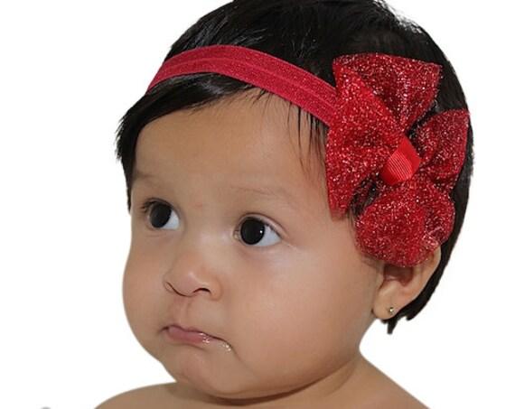 Christmas Headband, Red Bow Headband, Baby Girl Headband, Red Headband, Bow Headband, Newborn Headband, Infant Headbands, Baby Accessories