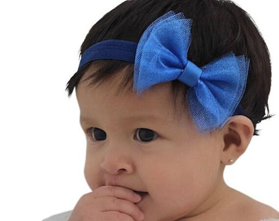 Blue Bow Headband, Blue Baby Headband, Blue Headband, Blue Infant Headband, Newborn Headband, Bow Headband, Baby Headpiece, Tulle Headband
