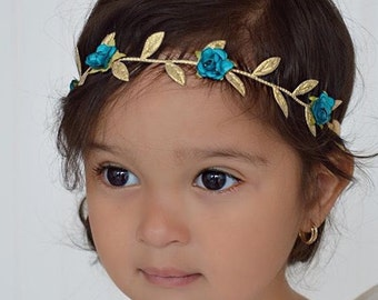 Baby Girl, Baby Girl Headband, Blue Greek Headband, Grecian Headpiece, Greek Headband, Baby Headband, Flower Girl Wedding, Flowers Headband