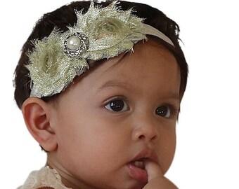 Headband for Birthday, Gold Baby Headband, Baby Headband, Flowers Headband, Headband for Girl, Infant Headband, Gold Headband, Girl Headband