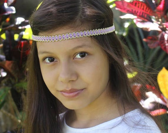 Lilac Boho Headband, Bohemian Headband, Adult Boho Headband, Gold Girl Headband, Forehead Headband, Halo Headband, Girls Headband