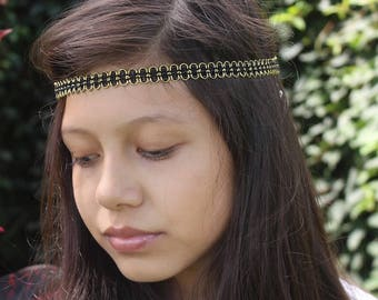 Forehead Headband, Black Boho Headband, Black Headband, Adult Boho Headband, Bohemian Headband Boho, Hippie Headband, Bohemian Headband