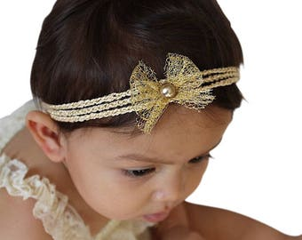 Headband for Newborn, Gold Headband, Kids Crochet Headband, Baby Headband Gold, Little Girl Gift, Gold Headband Baby, Girl Headband