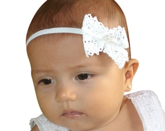 Baby Bows, Bow Headband, White Headband, Newborn Headband, Infant Headbands, Headband, Christening Headband, Lace Headband