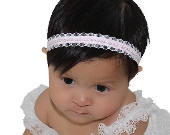 Pink Baby Headband, Pink Headpiece, Birthday Headband, Pearls Headband, Pink Halo Headband, Baby Lace Headband, Pink Headband