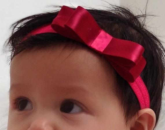 Red Baby Bow, Baby Headband Bow, Baby Headband, Newborn Headband, Infant Headband, Baby Girl Headband, Baby Head Wrap, Toddler Headband,