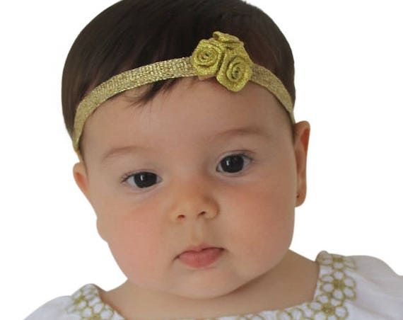 Gold Flowers Headband, Gold Baby Headband, Baby Headband, Flower Headband, Baby Headbands, Newborn Headband, Flower Headband, Girl Headband