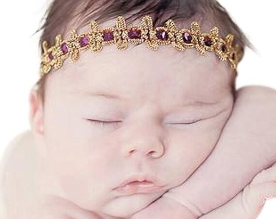 Baby Headband, Gold Headband, Burgundy Headband, Crown Girl, Crown Headband, Gold Baby Headband, Gold Infant Headband, Baby Headbands