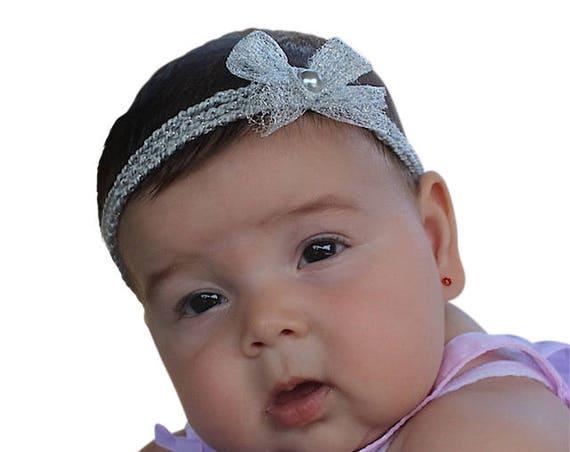 Crochet Headpiece, Baby Headband Bows, Silver Headband, Bow Headband, Headband Crochet, Braided Headband, Headband Silver, Baptism Headband