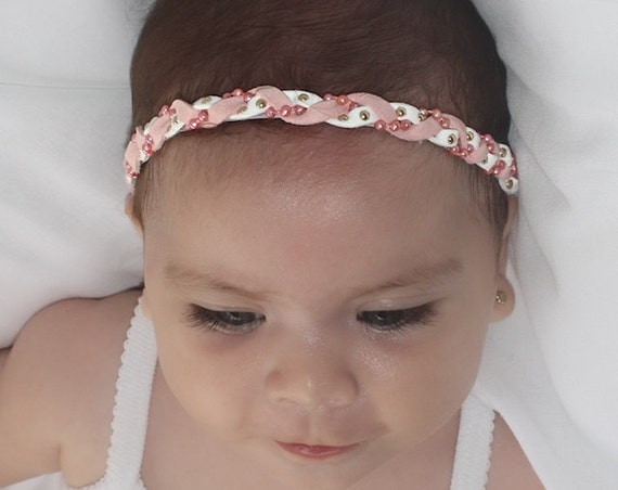 braided headband, Pink Headband, Infant Headbands, Newborn Headband, Baby Headband, White Headband, Braid headband