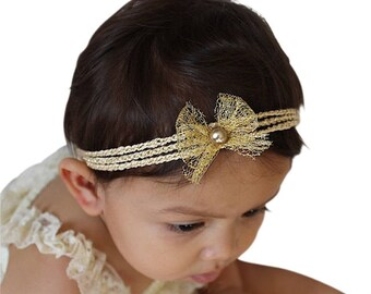 Gold Baby Headband, Gold Headband Baby, Bow Headband Baby, Baby Headband Gold, Little Girl Gift, Gold Headband Baby, Girl Headband,