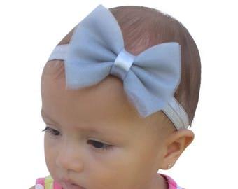 Baby Headband Bow, Baby Girl Bows, Gray Headband, Girl Headband, Baby Bow Headband, Baby Headband, Newborn Headband, Tulle Headband
