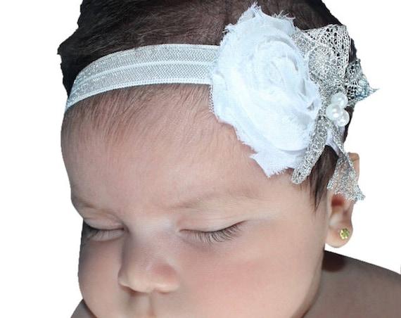 Baby White Headband, Silver Headband, Baby Headband, Christening Headband, Infant Headbands, Baptism Headband, Baptism Headpiece