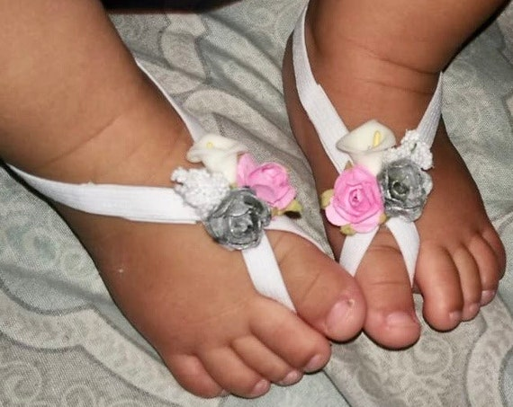 White Barefoot Sandals, Pink Silver Flowers, Barefoot Sandals Baby, Baby Barefoot Sandals, Barefoot Baby Sandals, Baby Sandals, Baby Shoes
