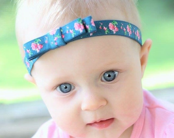 Blue Headband, Baby Headband, Bow Headband, Baby Accessories, Infant Headbands, Floral Headband, Hair Accessories