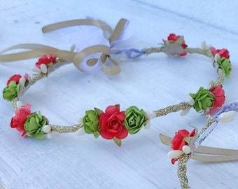Red Green Crown, Flower Crown, Newborn Crown, Infant Flower Crown, Baby Flower Crown, Newborn Flower Crown, Flower Girl, Flower Headband