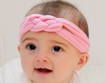 Knotted Turban Headband, Pink Baby Turban, Adult Headwrap, Toddler Headband, Child's Turban, Adult Turban Headband, baby Knotted headband