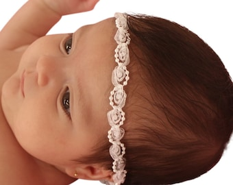 Baptism Headband, White Headband, Baby Headband, Infant Headbands, Newborn Headband, Pearls Headband