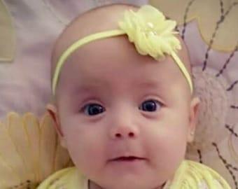 Yellow Headband, Yellow Flower, Baby Headband, Newborn Headband, Infant Headband, Baby Girl Headband, Baby Head Wrap, Toddler Headband