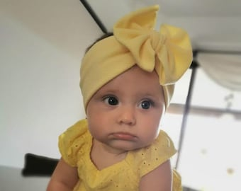 Big Bow Headband, Bow Headband, Yellow Headband, Baby HeadWrap, Baby Headband Bow, Yellow Turban, Yellow Bow Headband, Hair Wrap, Headband