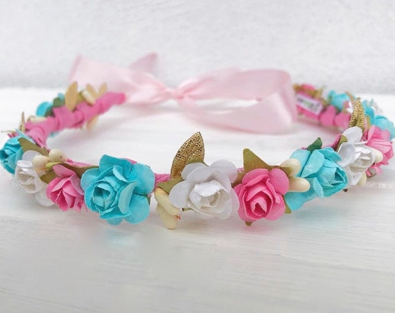 Gender Reveal, Flowers Crown, Baby Crown, Crown for pictures, Infant Headband, Pink Headband, Blue Headband, Handmade Crown, Unique Crown