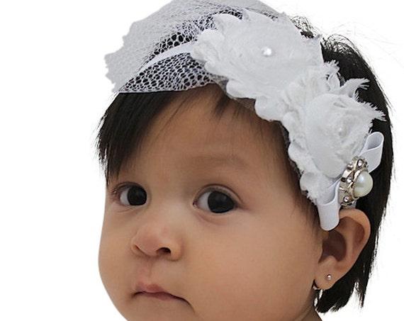 Baptism Headband, Christening Headband, Baby Headband, Newborn Headband, Baby Girl Headband, Infant Headband, White Baby Headband, Flower
