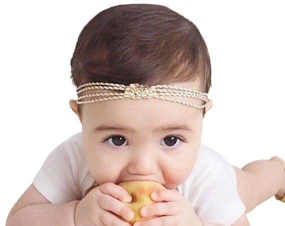 Sweet Little Headband, Baby Turban, Knot Headband, Headband Baby, Gold Baby Headband, Gold Infant Headband, Hair Accessories, Girl Headbands
