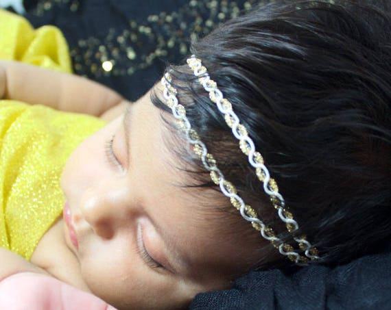 Gold Baby Headband, Two Strand Headband, Baby Headband, Gold Baby Headband, Gold Infant Headband, Gold Headband, Baby Gold Headband