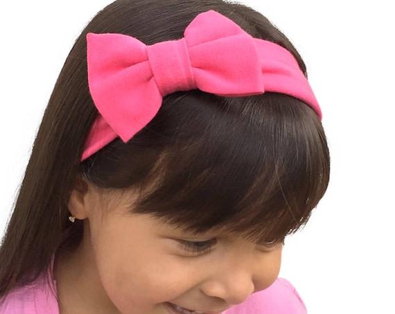 Fuchsia Bow Headband, Baby Headband Bow, Baby Turban Headband, Toddler Head Wrap, Baby Turban Baby Headband Newborn Headband Infant Headband