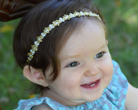 Gold Headband, Baby Headpiece, Baby Headband, Baptism Headband, Infant Headbands, Newborn Headband, Hair Accessories, Baby Accessories