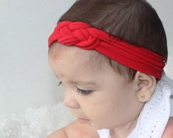 Knotted Baby Headband, Baby Headband, Red Baby Turban, Knot Headwrap, Baby Turban, Red Headband, Baby Headwrap, Baby Girl Headband
