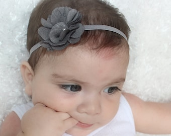 Newborn Headband, Flower Headband, Baby Headband, Gray Headbands, Handmade Headband, Infant Headband, Newborn Headband, Headband with Flower