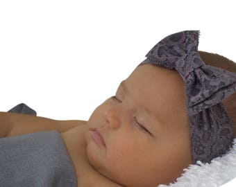 Baby Bow Headband, Lace Headband, Gray Headband, Baby Headband, Bow Headband, Newborn Headband,  Hair Accessories