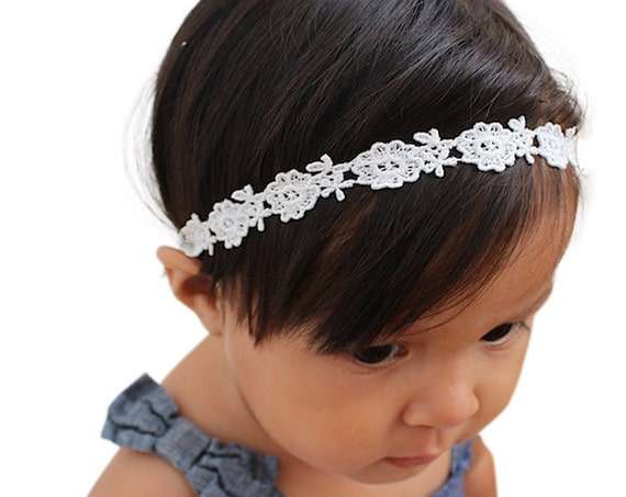 Baptism Headband, White Headband, Baby Headband, Lace Headband Baby, Halo Headband, Wedding Headpiece, Flower Girl Headband, Headband