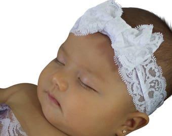 Bow Headband, Lace Headband, Bow Headwrap, White Headband, Baby Headband, Baby Accessories, Hair Accessories, Bow Lace Headband, Headbands