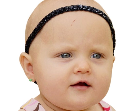 Baby Black Headband, Sequin Headband, Black Headband Baby, Baby Halo Headband, Halo Headband, Black Halo Headband, Infant Headbands