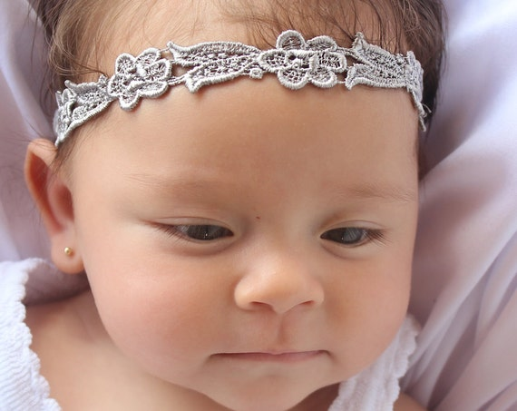 Newborn Headband, Silver Headband, Gray Headband, Infant Headbands, Baby Headband, Infant Headband, Baptism Headband