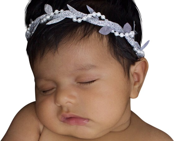 Greek Silver Headband, Pearls Headband, Baptism Headpiece, Silver Headband, Grecian Headband, Baby Headband, Greek Headband, Baby Crown