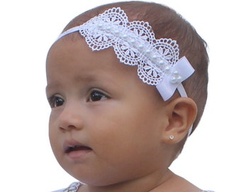 Baptism Headpiece, White Headband, Lace Headband, Baby Headband, Infant Headbands, Newborn Headband, Christening Headband, White Headpiece