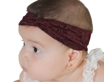 Lace Baby Headband, Brown Headband, Baby Headband, Baby Headwrap, Hair Accessories, Toddler Turban, Head Wrap Headband, Lace Head Wrap