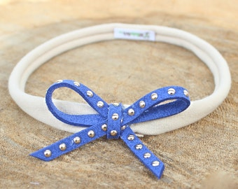 Infant Headband - Blue Bow Headband - Infant Headband - Handmade Headband - Bow Headpiece - Headband Bow - Baby Accessories, Blue Headband