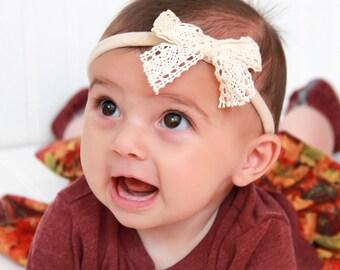 Baby Bow Headband, Nude Headband, Beige Headband, Lace Bow Headband, Bow Headband, Baby Girl Headband, Lace Headpiece