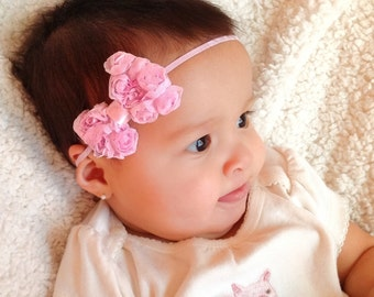 Pink Bow Headband, Infant Headband Bow, Newborn Headband, Baby Shower Gifts, Girls Gifts, Hair Bow Headband, Girls Wedding